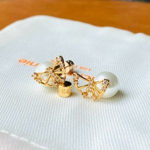 Alicia Bonnie gold butterfly pearl earrings